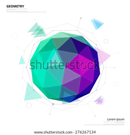 Geometry circle with green and purple color. Star technology concept. Vector illustration. - stock vector