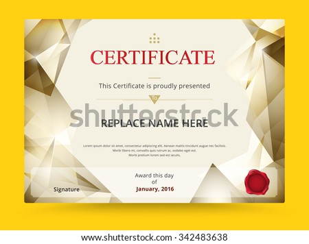Geometry diploma certificate template design with international print scale. vector illustration. - stock vector