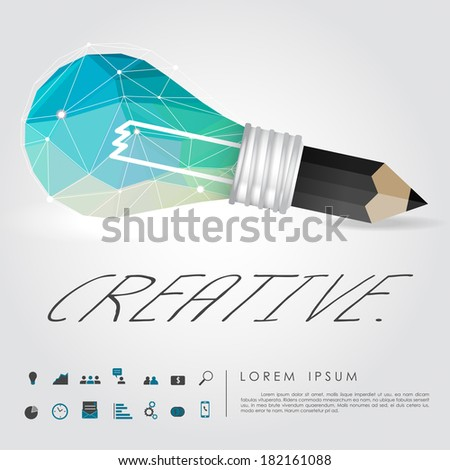 geometry idea light bulb and pencil write creative word with business icon vector - stock vector