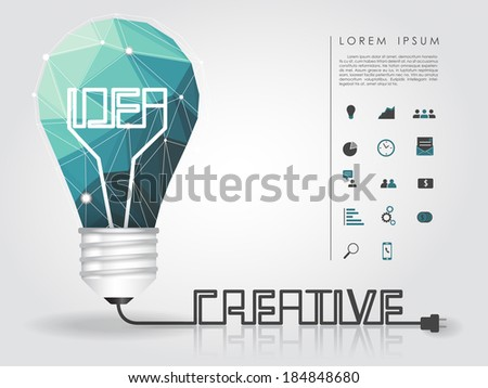 geometry idea light bulb with creative wire and business icon vector - stock vector