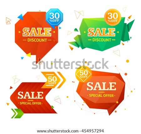 Geometry Origami and Arrows Sale Label Set. Vector illustration