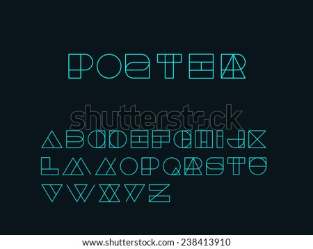 Shape And Form In Design : Geometry shape form alphabet set outlined stock vector