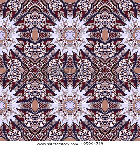geometry vintage floral seamless pattern, ethnic style, you can use for packaging, textile design or scrapbooking - stock vector