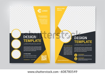 Geometry Yellow Brochure Flyer Design Template Stock Vector 2018