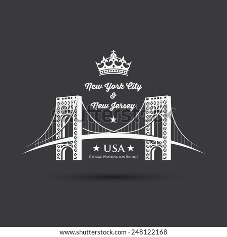 George Washington Bridge - connecting Fort Lee, New Jersey and Washington Heights, Manhattan in New York City, United States - vector illustration - stock vector