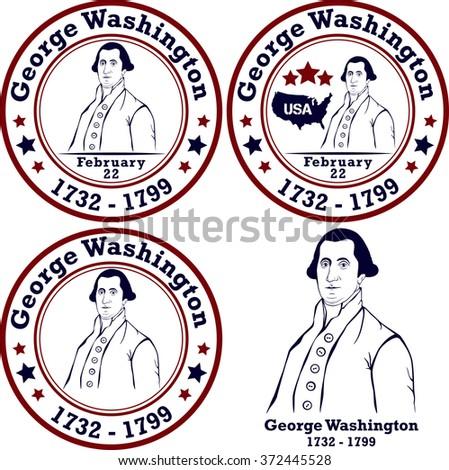 George Washington stamps. American president, vector illustration - stock vector
