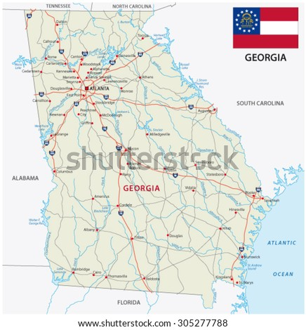 Georgia Map Stock Images RoyaltyFree Images Vectors Shutterstock - Road map georgia