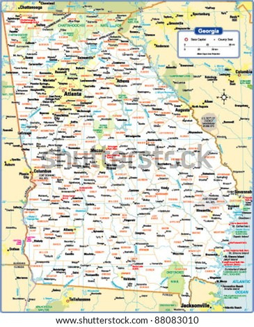 Georgia Map Stock Images RoyaltyFree Images Vectors Shutterstock - Geogia state map