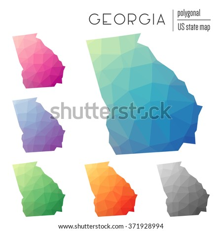 Georgia state map in geometric polygonal style. Set of Georgia state maps filled with abstract mosaic, modern design background. Multicolored state map in low poly style - stock vector