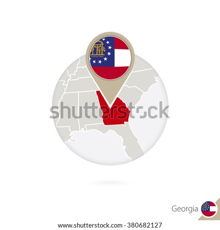 Georgia US State map and flag in circle. Map of Georgia, Georgia flag pin. Map of Georgia in the style of the globe. Vector Illustration.