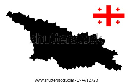Georgia vector map and flag  isolated on white background. High detailed silhouette illustration.