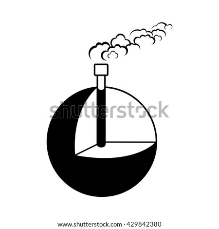 Geothermal energy, alternative and renewable energy supply source. Icon of Earth and geothermal power. Vector Illustration - stock vector