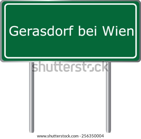 Gerasdorf bei Wien, Austria, road sign green vector illustration, road table - stock vector