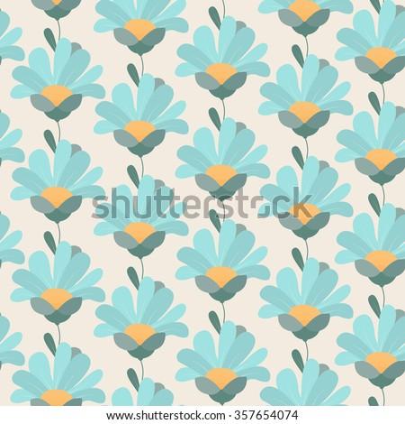 Gerber daisy flowers seamless pattern. Upward facing petals side profile. Light blue, yellow, green, pink, beige. - stock vector