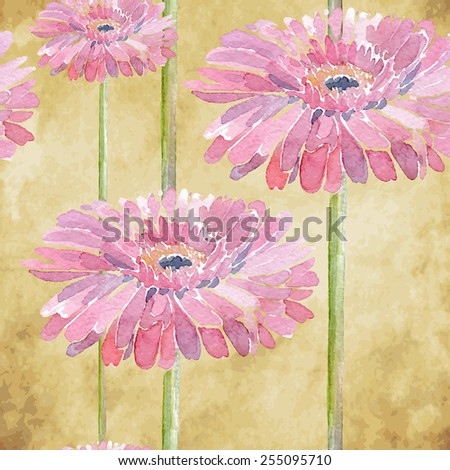 Gerbera. Vector illustration for textile, different occasions, holidays. Cute summer and spring background. Floral seamless pattern with pink watercolor flowers on the vintage background.  - stock vector