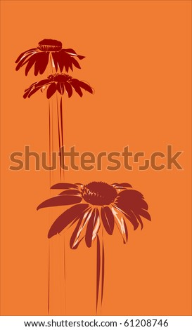 gerberas on the orange background - stock vector
