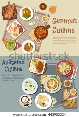 German and austrian cuisine. Desserts and drinks, grilled sausages and sandwiches, pork stew and goulash, pea soup, pot roast, meat, plum, bavarian bread, pretzels, beer, chocolate, coffee, ice cream