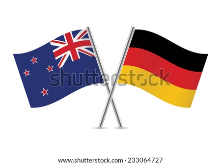 German and New Zealand flags. Vector illustration.