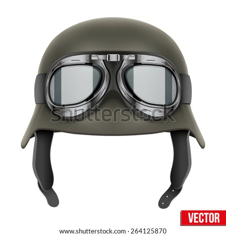 German Army helmet with protective goggles. Vector Illustration isolated on a white background - stock vector