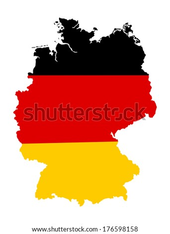 German banner vector map flag. Icon of Germany isolated on white background. High detailed vector map - Germany. Tricolor flag.