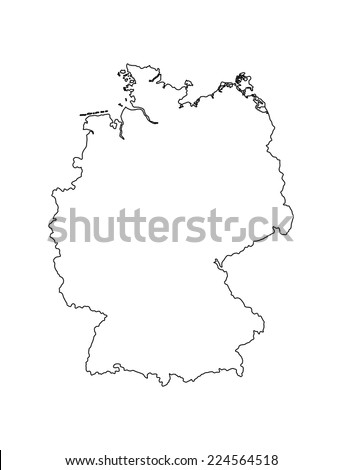 German banner vector map. Icon of Germany isolated on white background. High detailed vector map - Germany,Outlined, contour.   - stock vector
