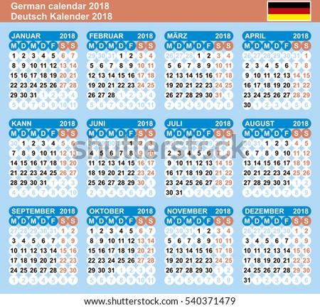 German Calendar 2018 Vector Template Numbers Stock Photo Photo