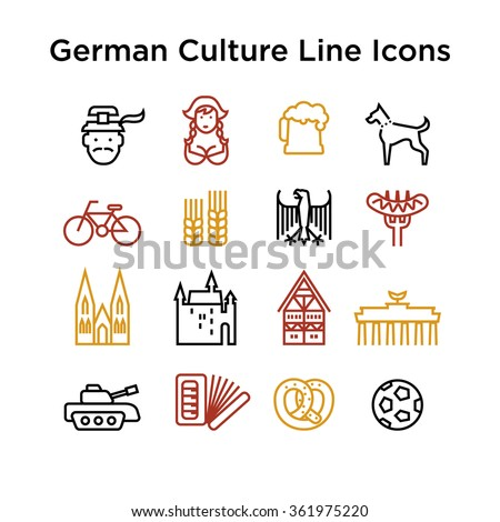 German Culture Icons, Culture Signs of Germany, Traditions of Germany, German Life, National Objects of Germany, Colored Line Icons, Colored Stroke Icons, German Culture Line Color Icons - stock vector