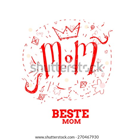German deutsch Mother's day illustration  Best Mom - stock vector
