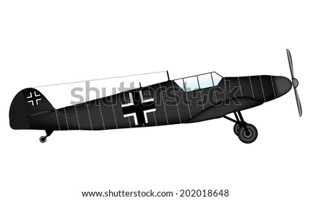 German fighter of World War II on white background - vector illustration. - stock vector