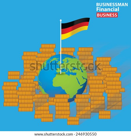 German financial concept design on blue background,clean vector