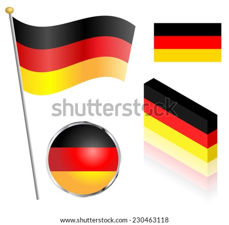 German flag on a pole, badge and isometric designs vector illustration.  - stock vector