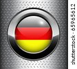 German, Germany flag button on metal background, vector. - stock vector