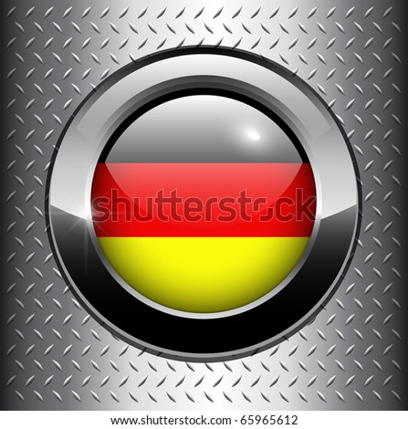 German, Germany flag button on metal background, vector.
