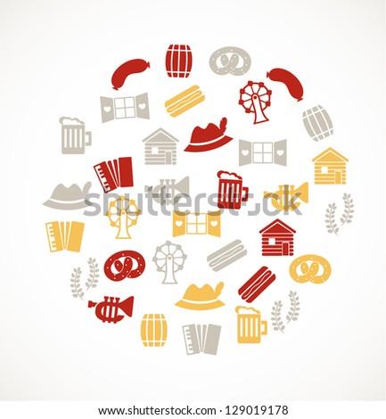 German icons - stock vector