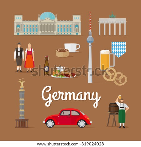German Landmarks and Culture. Berlin in Germany vector illustration. Traditional costume. - stock vector