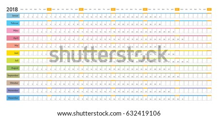 German Linear 2018 Calendar Day Schedule Stock Vector 632419106