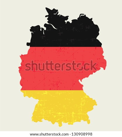 German MAP WITH FLAG IN OLD LOOKING WAY- grunge looking poster