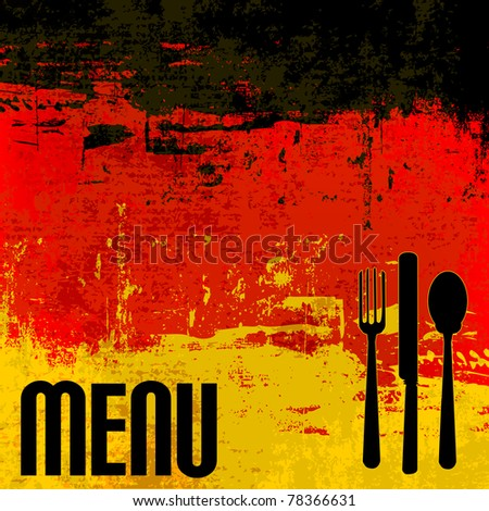 German Menu Vector template over a flag of Germany - stock vector