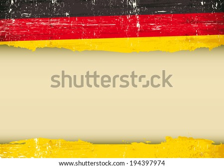 German scratched flag. A German flag with a large frame for your message. Ideal to use for a screen - stock vector