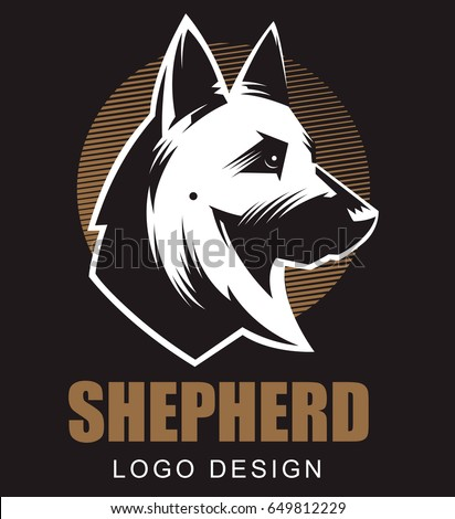 german shepherd illustration logo emblem black stock vector hd rh shutterstock com german shepherd lego German Shepherd Drawings