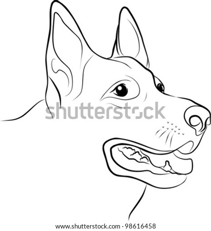 german shepherd portrait on a white background - freehand, vector illustration - stock vector