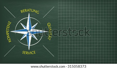 "German text ""Beratung, Kompetenz, Service, Qulitaet"", translate ""Consulting, Expertise, Service, Quality"". Eps 10 vector file."