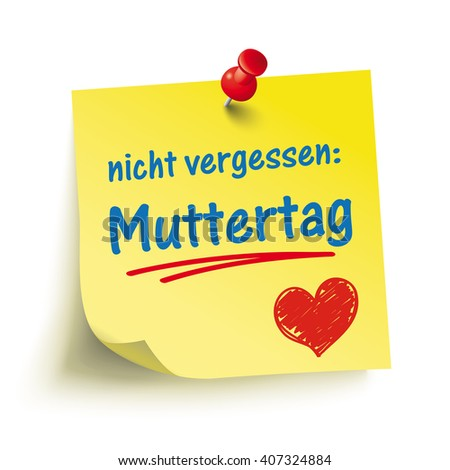 """German text """"Nicht vergessen, Muttertag"""", translate """"Don't forget Mother's Day"""". Eps 10 vector file. - stock vector"""