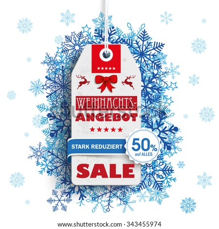 "German text ""Weihnachtsangebot, stark reduziert"", translate ""Christmas Offer, discount"". Eps 10 vector file. - stock vector"
