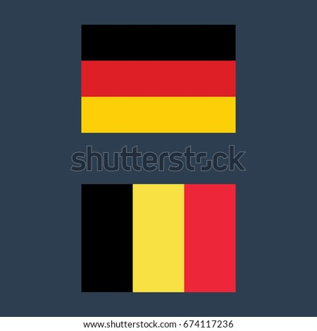 Germany Belgium Flags Vector Illustration Sign Stock Vector