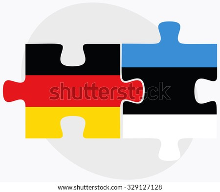 Germany and Estonia Flags in puzzle isolated on white background - stock vector