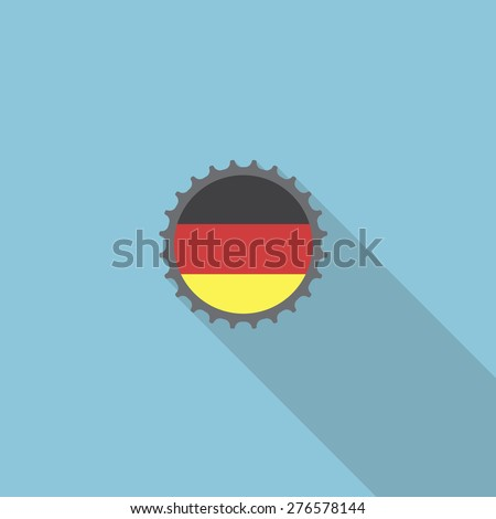 Germany bottle cap flat icon with long shadow. Vector illustration EPS10