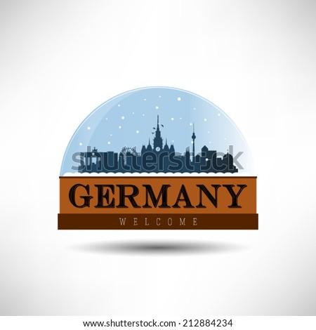 Germany, city skyline silhouette in snow globe. Vector design. - stock vector