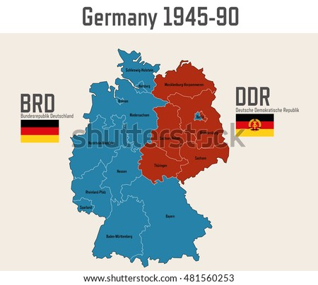 germany cold war map with flags of eastern and western germany
