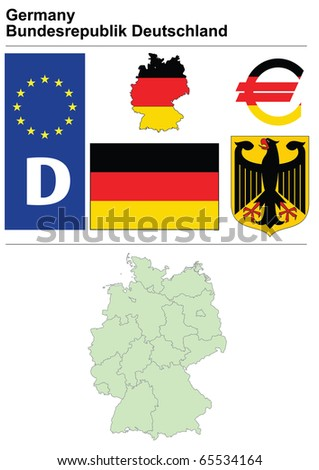Germany collection including flag, plate, map (administrative division), symbol, currency unit & coat of arms - stock vector